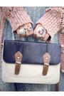 Navy-satchel-primark-bag-sky-blue-pleated-vintage-dress