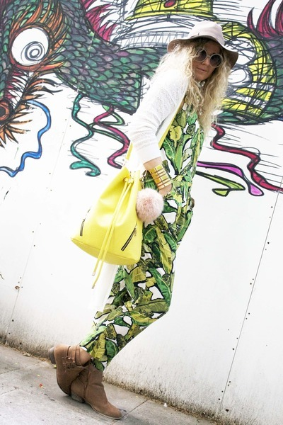 green tropical print Topshop romper - yellow bucket Topshop bag