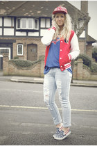 red baseball jacket Primark jacket - light blue new look jeans - red Ebay hat