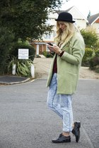 lime green OASAP coat - black studded brogues Topshop shoes
