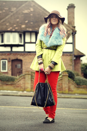 floppy hat H&M hat - River Island coat - Marks jeans - fur stole asos scarf