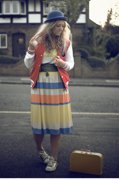 yellow Primark dress - red Primark coat - blue bowler hat H&M hat