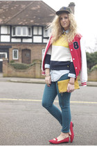 red varsity Primark jacket - green polka dot Matalan jeans
