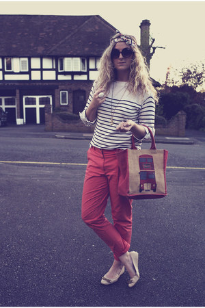 red H&amp;M pants - navy stripes Primark jumper - neutral Primark flats