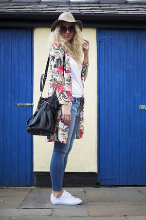 hot pink inlovewithfashion jacket - light blue asos jeans - white H&M t-shirt