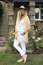 white F&F jeans - peach OASAP cape - light blue Mango top