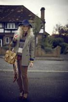navy fedora TK Maxx hat - brown vintage blazer - camel Market bag