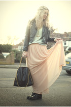maxi skirt new look skirt - biker boots Zara boots - knit asos jumper