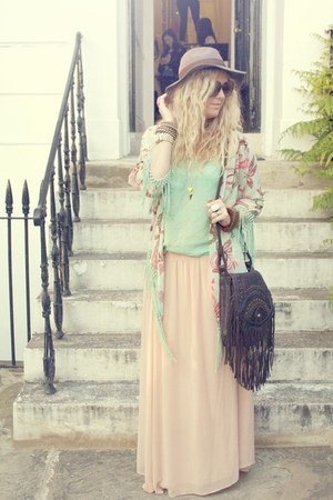 peach maxi new look skirt - dark brown fringe Primark bag