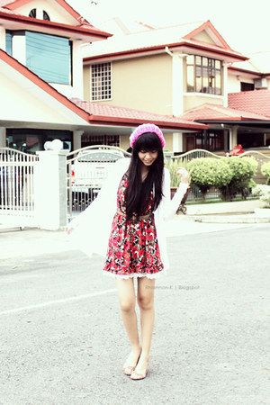 white Kitschen cardigan - red Harajuku dress - bubble gum Doss flats