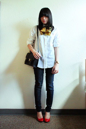 white Ralph Lauren top - blue BDG jeans - red Aldo shoes - beige Aldo accessorie