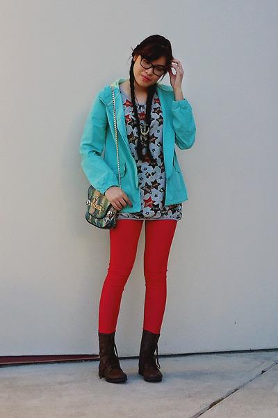 brown Payless boots - aquamarine Mossimo jacket - silver landmark sweater