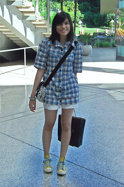 thrifted shirt - Old Navy shorts - Converse shoes - thrifted accessories - brace