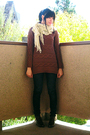 Brown-oversized-sweater-beige-scarf-blue-dark-cigarette-jeans-brown-lace-u