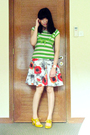 Green-landmark-top-red-akita-skirt-gold-cutout-oxford-shoes-red-singapore-
