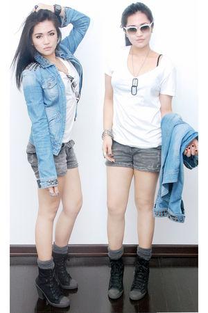 black Topshop boots - white Gap shirt - gray Zara shorts - gray grocery store so