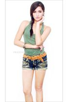 green Zara top - brown Topshop belt - gold von dutch shorts - gold Aldo accessor