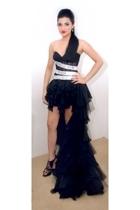 black strappy heels Zara shoes - black ruffled gown Myrna S dress