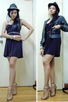 Izabelli gave it dress - Topshop jacket - Topshop belt - Zara shoes - Vigan stre