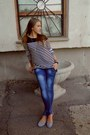 Lexxury-jeans-silver-flats-bossini-blouse-watch-heart-necklace