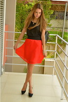 red Zara skirt - black Chanel bag - black Bershka heels