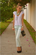 aquamarine Bershka pants - white Zara shirt - black tory burch bag