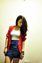 blue pencil skirt Flaurish skirt - red Scada blazer - white closet top