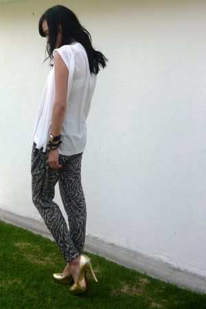 white H&M t-shirt - silver Topshop pants - gold Christian Louboutin shoes - blac