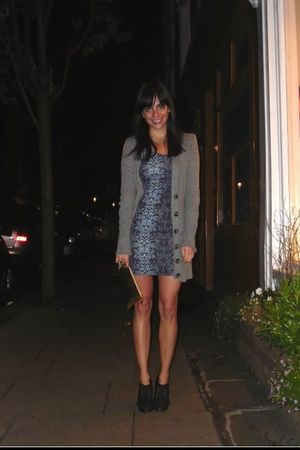 gold commes des garcons bag - blue Motel dress - H&M shoes