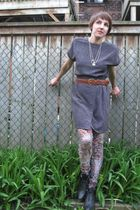 vintage dress - norwegian wood leggings - vintage accessories