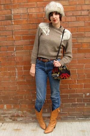 pendleton purse - vintage boots - vintage levis jeans - vintage hat