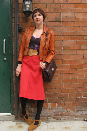 orange vintage jacket - purple Urban Outfitters t-shirt - red vintage skirt - bl