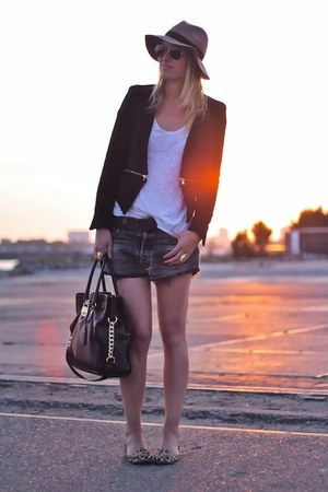 black Zara blazer - black Michael Kors bag - black Levis shorts