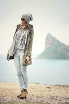 light blue River Island jeans - green maison scotch jacket