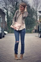 bubble gum maison scotch jacket - tan asos boots - navy Blue Blood jeans