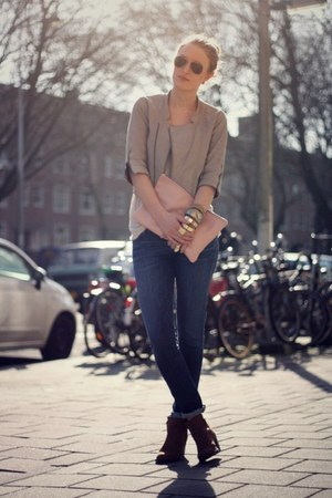 navy citizens of humanity jeans - light brown Topshop boots - silver Zara jacket