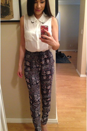 collared Forever 21 shirt - harem pants Forever 21 pants
