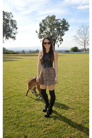 leopard print Victorias Secret skirt - pleather Angl top