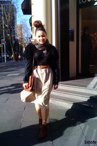 beige DIY skirt - black cardigan - brown