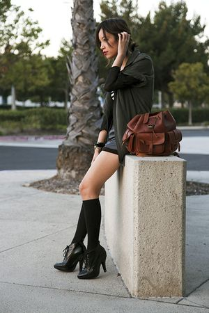 black H&amp;M socks - black Burberry boots - green Vena Cava jacket