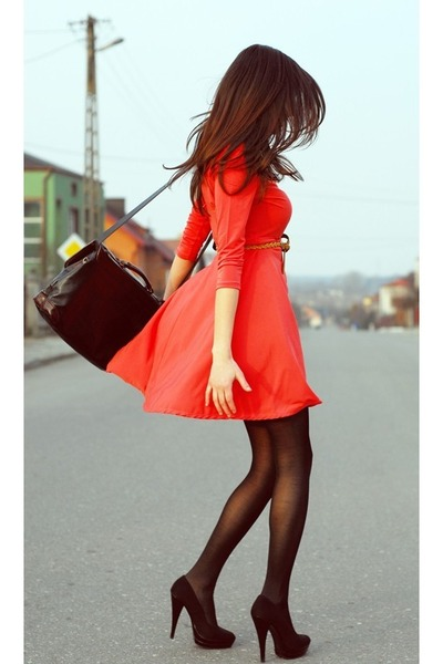 red a-line dress - black tights - black bag - camel braided belt - black pumps