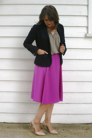 hot pink JCrew skirt - navy Gap blazer - heather gray JJill blouse