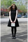 Black-h-m-dress-black-zara-jacket-white-topshop-bag