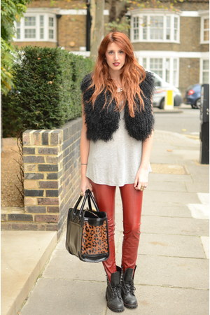 ruby red leather pants BSB pants - black biker boots Office boots