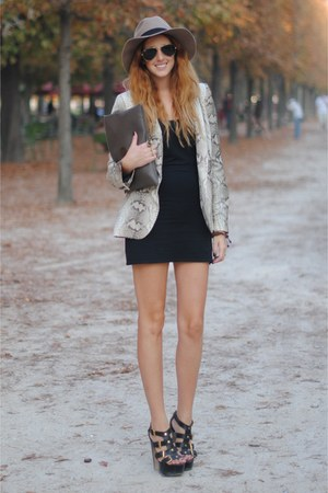 beige snake skin Zara blazer - black Topshop dress - light brown fedora asos hat