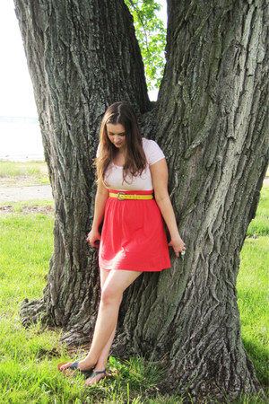 yellow waist belt targe belt - red H&M dress - gray t-strap Old Navy sandals