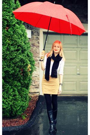 white Old Navy shirt - black Target scarf - beige H&M skirt - black H&M tights -
