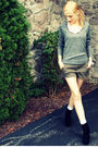 Gray-h-m-sweater-pink-h-m-necklace-green-forever-xxi-shorts-gray-target-so