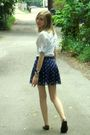 Blue-american-eagle-skirt-white-alice-temperley-shirt-brown-target-shoes-b