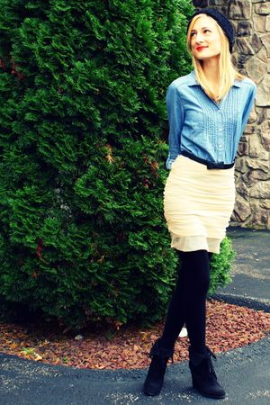 black Target hat - blue H&amp;M shirt - beige Gruche skirt - black H&amp;M tights - blac